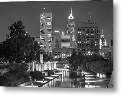 Evening Skyline Of Indianapolis Indiana Metal Print by Gregory Ballos