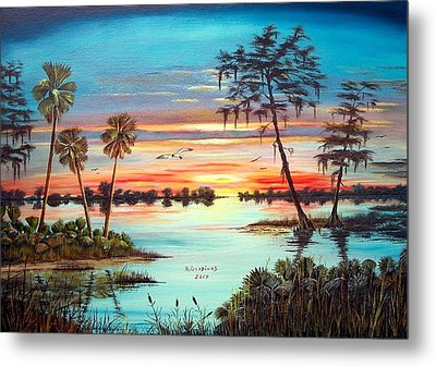 Everglades Sunset Metal Print by Riley Geddings