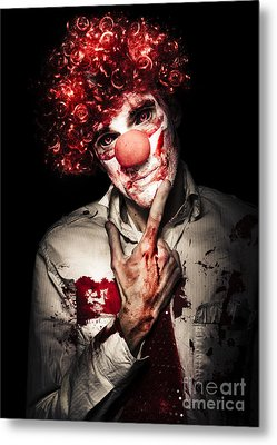 Evil Blood Stained Clown Contemplating Homicide Metal Print by Jorgo Photography - Wall Art Gallery