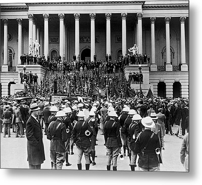 Expeditionary Force At Capitol Metal Print by Underwood Archives