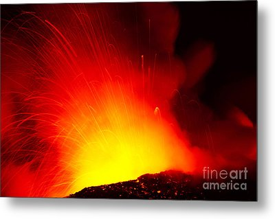 Exploding Lava At Night Metal Print by Peter French - Printscapes