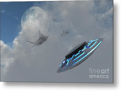 F-22 Stealth Fighter Jets On The Trail Metal Print by Mark Stevenson