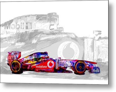 F1 Race Car Digital Painting Metal Print by David Haskett