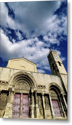Facade Of A Benedictine Monastery In Saint-gilles Metal Print by Sami Sarkis