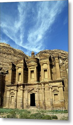 Facade Of Ad Deir An Ancient Rock-cut Monastery In Petra Metal Print by Sami Sarkis