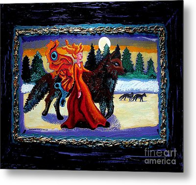 Faerie And Wolf Metal Print by Genevieve Esson