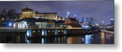 Fairmount Waterworks And Art Museum At Night Metal Print by Bill Cannon