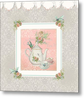 Fairy Teacups - Tea Party For Two Metal Print by Audrey Jeanne Roberts