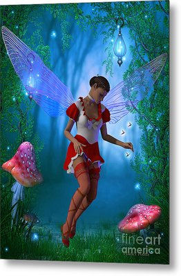 Fairy With Glow Flies Metal Print by Corey Ford