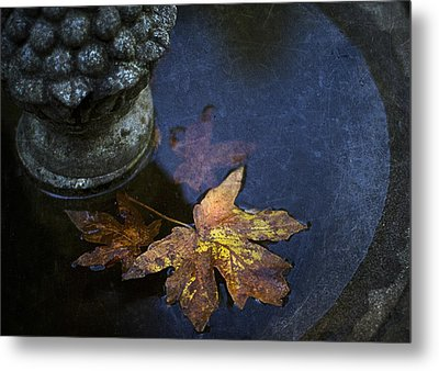 Fall At The Fountain Metal Print by Rebecca Cozart