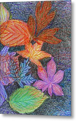 Fall Leave Collage Metal Print by Cassandra Donnelly