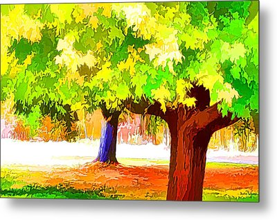 Fall Leaves Trees 1 Metal Print by Lanjee Chee