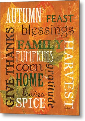 Fall Typography 1 Metal Print by Debbie DeWitt