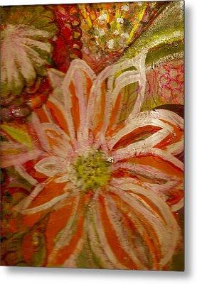 Fantasia With Orange And White Metal Print by Anne-Elizabeth Whiteway