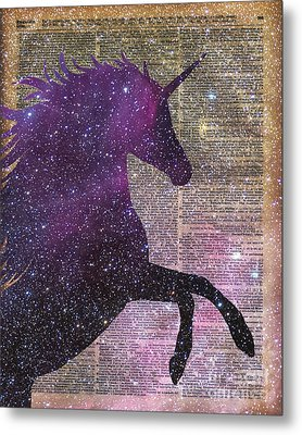 Fantasy Unicorn In The Space Metal Print by Jacob Kuch