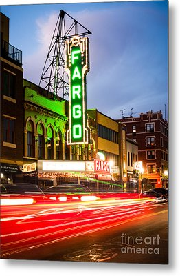 Fargo Theatre And Downtown Buidlings At Night Metal Print by Paul Velgos