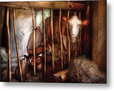 Farm - Cow - Milking Mabel Metal Print by Mike Savad
