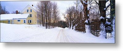 Farm Covered In Snow, Darling Hill Metal Print by Panoramic Images