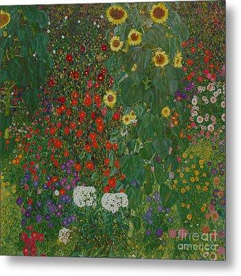 Farm Garden With Flowers Metal Print by Gustav Klimt