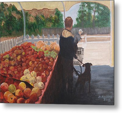 Farm Stand Dog Metal Print by Donna Rollins