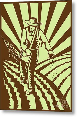 Farmer Sowing Seeds  Metal Print by Aloysius Patrimonio