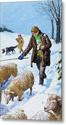Farmers Bringing In Their Sheep Metal Print by Clive Uptton