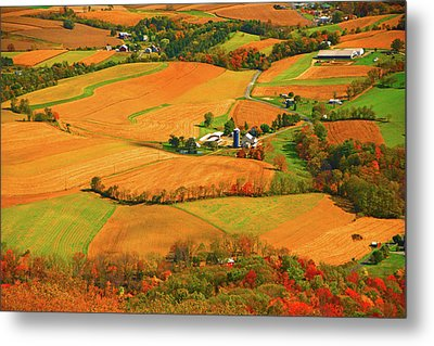 Farms Can Be Seen From Pa At Metal Print by Raymond Salani III
