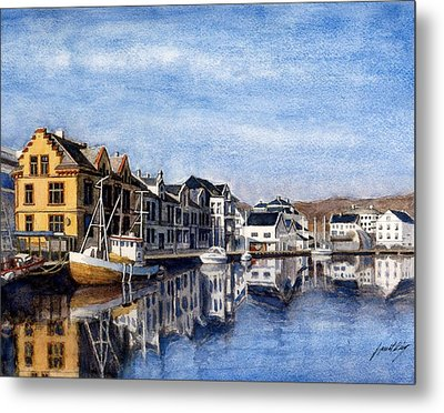 Farsund Dock Scene 2 Metal Print by Janet King