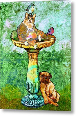 Fat Cat And Pug Metal Print by Mary Ogle