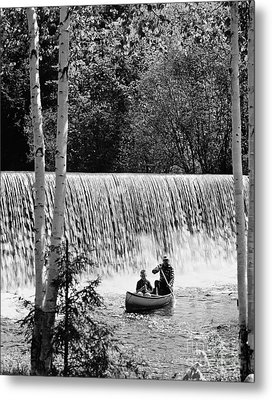 Father And Son Canoeing, C.1960-70s Metal Print by H. Armstrong Roberts/ClassicStock