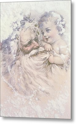 Father Christmas And A Child Metal Print by English School