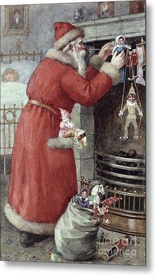Father Christmas Metal Print by Karl Roger
