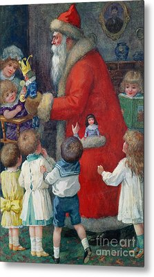 Father Christmas With Children Metal Print by Karl Roger