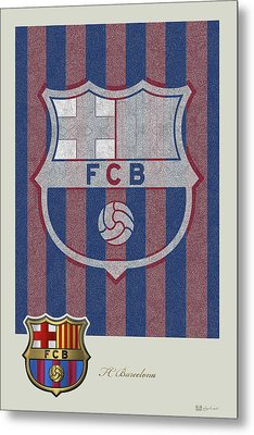 Fc Barcelona Logo And 3d Badge Metal Print by Serge Averbukh