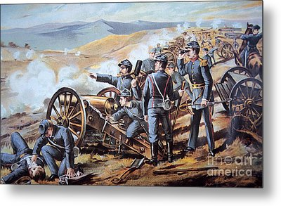 Federal Field Artillery In Action During The American Civil War  Metal Print by American School