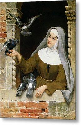 Feeding The Pigeons Metal Print by Eugen von Blaas