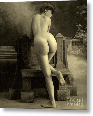 Female Nude, Circa 1900 Metal Print by French School