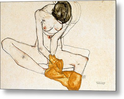 Female Nude Metal Print by Egon Schiele