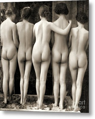 Female Nude Quintet Metal Print by French School