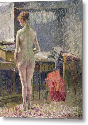 Female Nude Seen From The Back Metal Print by Camille Pissarro