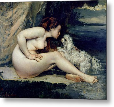 Female Nude With A Dog Metal Print by Gustave Courbet