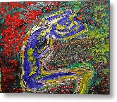 Female Washing Hair With Bold Primary Colors Textures And Expressionism  Metal Print by MendyZ M Zimmerman