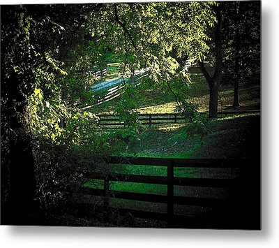 Fences On The Farm Metal Print by Joyce Kimble Smith