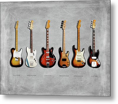 Fender Guitar Collection Metal Print by Mark Rogan