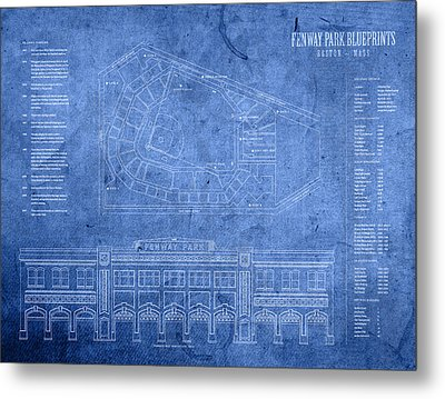 Fenway Park Blueprints Home Of Baseball Team Boston Red Sox On Worn Parchment Metal Print by Design Turnpike