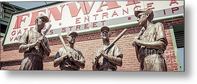 Fenway Park Bronze Statues Panorama Photo Metal Print by Paul Velgos