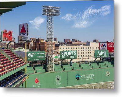 Fenway Park Green Monster Wall Metal Print by Susan Candelario