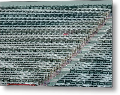 Fenway Park Red Chair Number 21 Metal Print by Susan Candelario