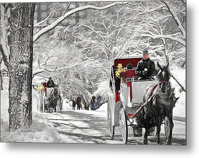 Festive Winter Carriage Rides Black And White Metal Print by Sandi OReilly