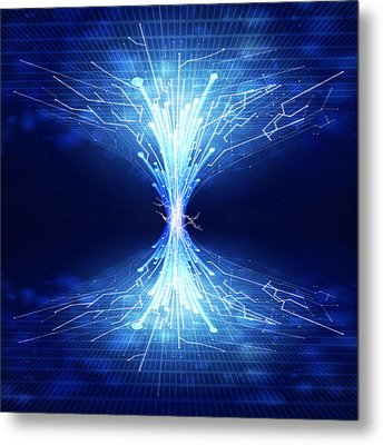 Fiber Optics And Circuit Board Metal Print by Setsiri Silapasuwanchai